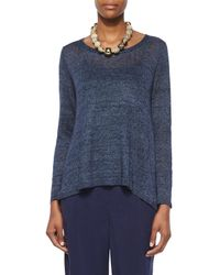 Eileen Fisher   Blue Long-sleeve Linen Delave Box Top   Lyst
