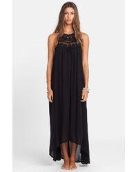 Billabong - Black 'among The Stars' Crochet Maxi Dress - Lyst