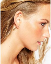 Eyland - Pink Rose Gold Plated Fauna Safety Pin Earrings - Lyst
