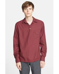 Barena - Red 'pavan' Trim Fit Check Pullover Shirt for Men - Lyst