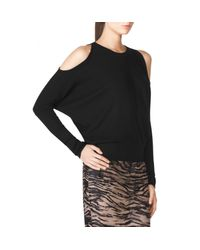 Tamara Mellon - Black Rib Cold Shoulder Sweater - Lyst