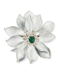 Alexis Bittar | Fancy Green Crystal-Encrusted Articulating Flower Brooch | Lyst