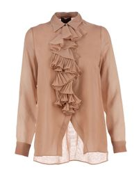 Roberta Furlanetto | Brown Ruffle Blouse | Lyst