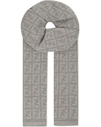 Fendi - Gray Mini Logo Scarf, Women's, Light Grey - Lyst