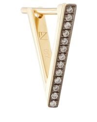 Noor Fares - Metallic Gold Diamond Triangle Hoop Earrings - Lyst