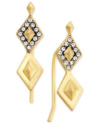 House of Harlow 1960 | Metallic Gold-tone Acute Pavé Earrings | Lyst