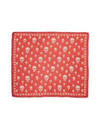 Alexander McQueen | Red Skull-print Silk Chiffon Scarf | Lyst