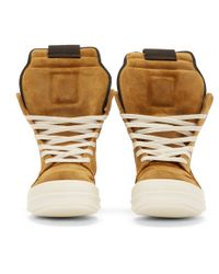 Rick Owens - Yellow Mustard Suede Geobasket High_top Sneakers for Men - Lyst