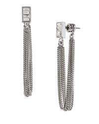 Kenneth Cole | Metallic Sparkled Baguette Crystal Mesh Earrings | Lyst