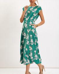 Jaeger - Green Blossom Outline Printed Dress - Lyst