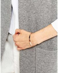 ASOS - Metallic Double Ball Open Cuff Bracelet - Lyst