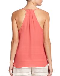 Ramy Brook - Pink Olivia Pleated Silk Tank Top - Lyst