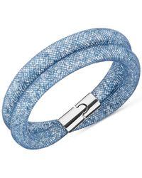 Swarovski | Silver-tone Blue Stardust Wrap Bracelet | Lyst