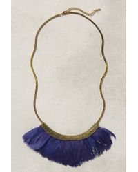 Anthropologie | Blue Fanned Feather Necklace | Lyst