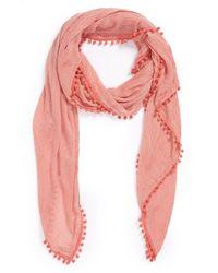 Halogen - Pink Pompom Trim Scarf - Coral - Lyst