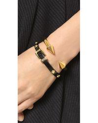 Michael Kors - Two Tone Buckle Bangle Bracelet - Black/gold - Lyst