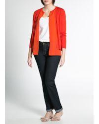 Mango - Orange Silkblend Cardigan - Lyst