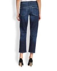 Citizens of Humanity - Blue Emerson Cropped Slimfit Boyfriend Jeans - Lyst