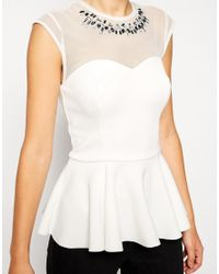 ASOS | Natural Peplum Top With Sweetheart Neckline And Embellishment | Lyst