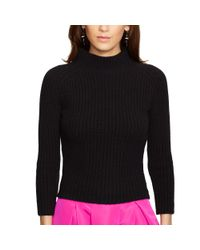 Polo Ralph Lauren | Black Ribbed Wool-cashmere Sweater | Lyst
