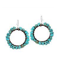 Aeravida | Blue Dangle Hoop Copper Wire Turquoise .925 Silver Earrings | Lyst
