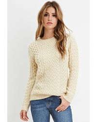 Forever 21 | Natural Chunky Fisherman Sweater | Lyst