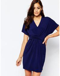 ASOS | Blue Kimono Plunge Mini Dress | Lyst