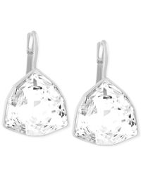 Swarovski | Metallic Silver-tone Trillion-cut Leverback Earrings | Lyst