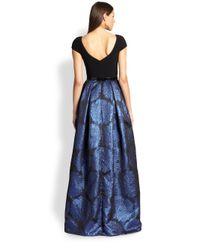 THEIA - Blue Mixedmedia Metallic Ball Gown - Lyst