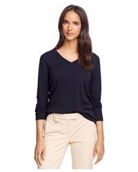 Brooks Brothers - Black Saxxon Wool V-neck Sweater - Lyst