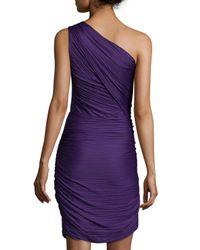 Halston - Purple One-shoulder Ruched Cocktail Dress - Lyst
