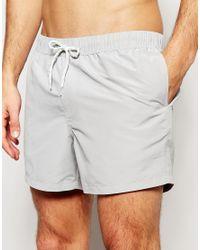 ASOS - Gray Swim Shorts In Light Grey Short Length for Men - Lyst
