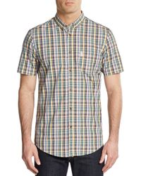 Ben Sherman | Metallic Slim-fit Plaid Short Sleeve Sportshirt for Men | Lyst