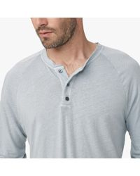 James Perse - Gray Linen Cotton Raglan Henley for Men - Lyst