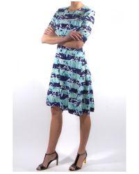 KENZO - Blue Torn Printed Sheer Detail Dress - Lyst