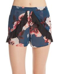 Band Of Gypsies | Blue Floral Ruffle Shorts | Lyst