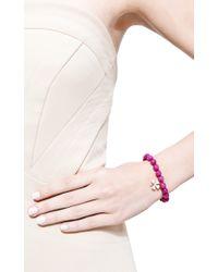 Sydney Evan | Pink Diamond Clover Charm Beaded Bracelet | Lyst