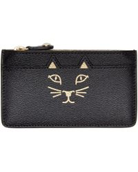 Charlotte Olympia - Black & Gold Zippered Feline Pouch - Lyst