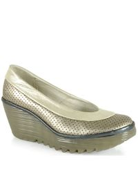 Fly London | Gray Perforated Wedge | Lyst