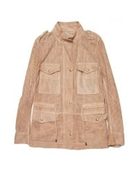 Yves Salomon - Natural Perforated Suede Jacket - Lyst