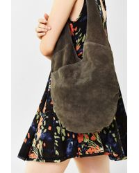 Kimchi Blue - Gray Suede Knot Strap Hobo Bag - Lyst