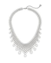 Majorica | Metallic 6mm-12mm White Round Pearl Link Collar Necklace | Lyst