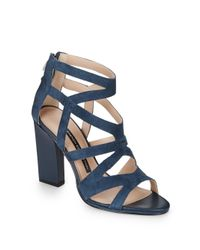 French Connection - Blue Suede Caged Sandals - Lyst