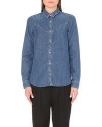 KENZO | Blue Yoke-detail Denim Shirt | Lyst