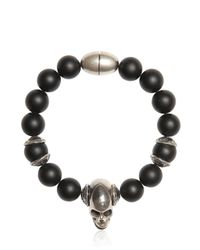 Emanuele Bicocchi | Black Onyx Beads & Silver Skull Bracelet for Men | Lyst
