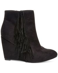 Madden Girl | Black Pave Wedge Fringe Booties | Lyst