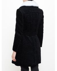 Carven - Black Textured Rabbit Fur Collar Coat - Lyst