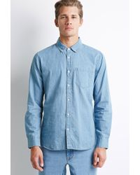 Forever 21 | Blue Button-collar Chambray Shirt You've Been Added To The Waitlist for Men | Lyst