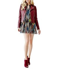 Guess   Red Faux Leather Moto Jacket   Lyst