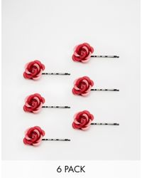 ASOS - Red Pack Of 6 Rose Hair Clips - Lyst
